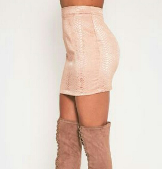 PrettyLittleThing Dresses & Skirts - Dusty Pink Blush Snake Jacquard Mini Skirt US 6